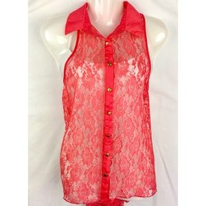 Allison Brittney Tops - Allison Brittany Sleeveles Pink Lace Button Up Top